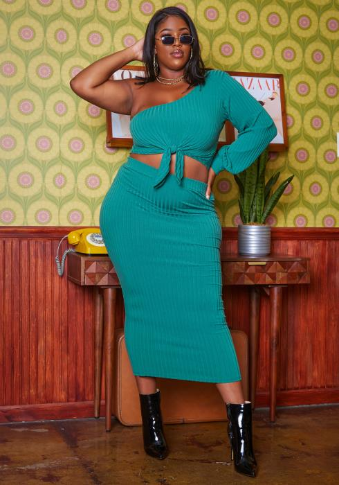 Plus Size Ribbed Crop Top & Midi Skirt Set