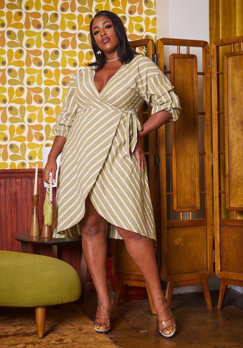 Plus Size Striped Pattern Wrap Mini Dress