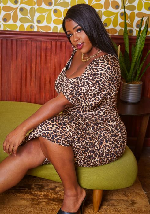 Plus Size Leopard Print Bodycon Midi Dress
