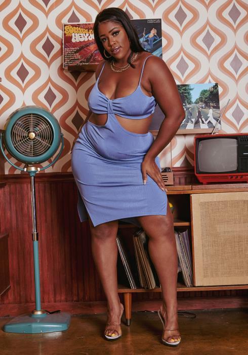 Plus Size Cut Out Front Cami Mini Dress