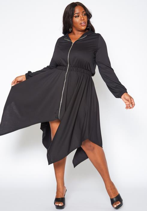 Plus Size Zip Front Asymmetric Flare Mini Dress