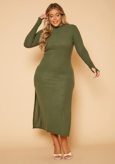 Plus Size Soft Knit Bodycon Maxi Dress