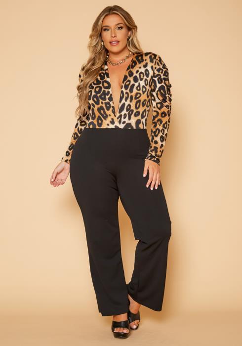 Plus Size Leopard Splice Flare Jumpsuit