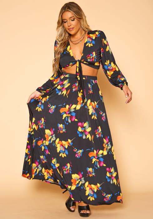Plus Size Floral Print Tie Front Crop Top & Maxi Skirt Set