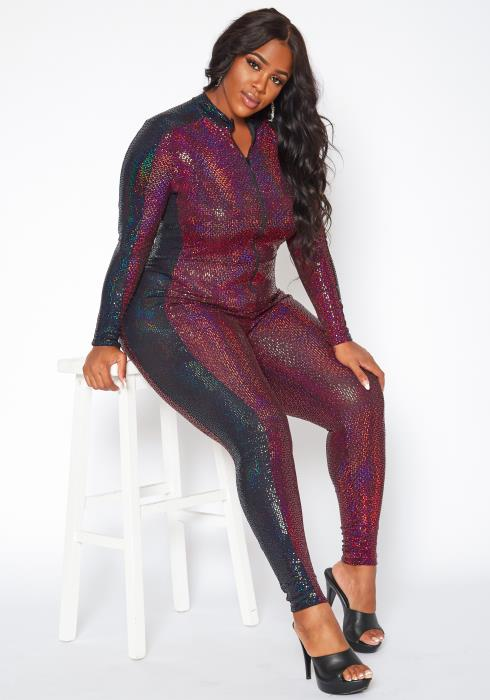 Plus Size Multi Sequin Bodycon Jumpsuit