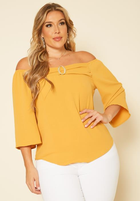 Plus Size O Ring Off Shoulder Blouse