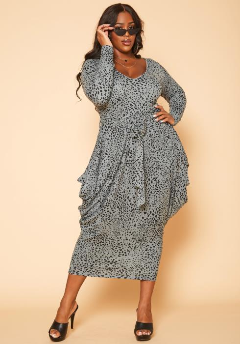 Plus Size Tie Dye Harem Midi Dress