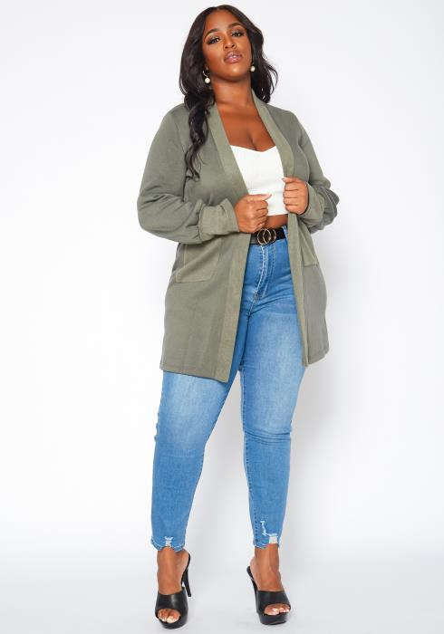 Plus Size Casual Open Front Long Cardigan