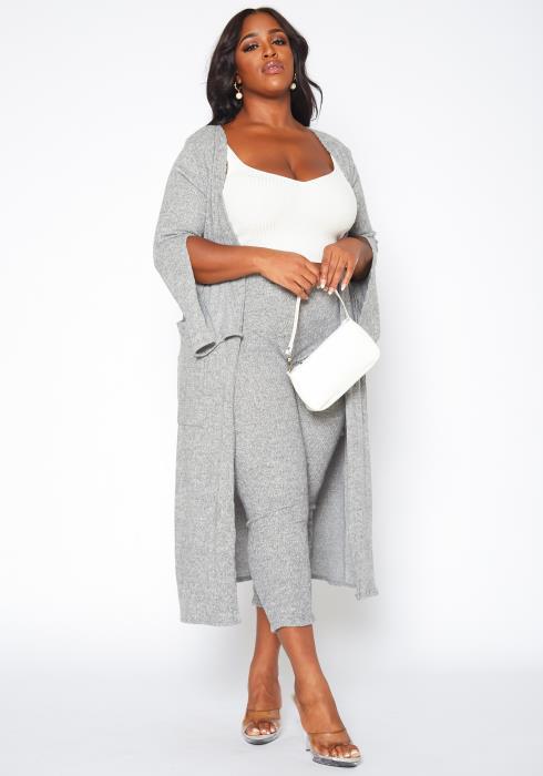 Plus Size Heather Grey Duster Cardigan & Legging Set