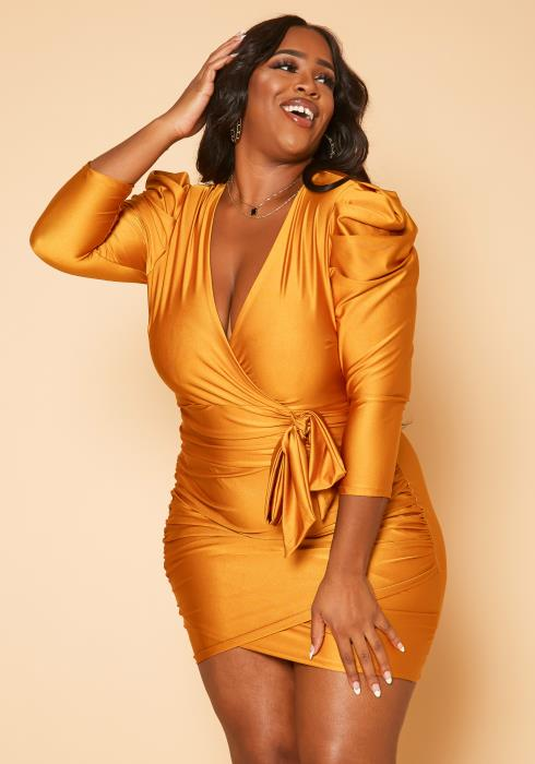Plus Size Sultry Ruched Bodycon Mini Dress