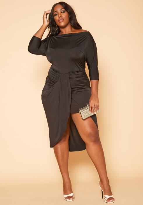 Plus Size Drape Front Midi Dress
