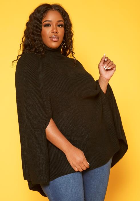Plus Size Batwing Sleeve Knit Sweater