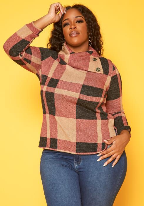 Plus Size Plaid Asymmetric Collar Sweater
