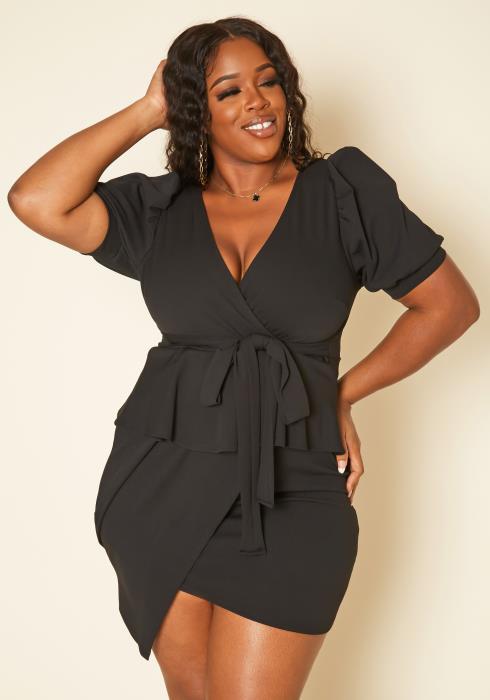 Plus Size Ruffle Flare Asymmetric Mini Dress