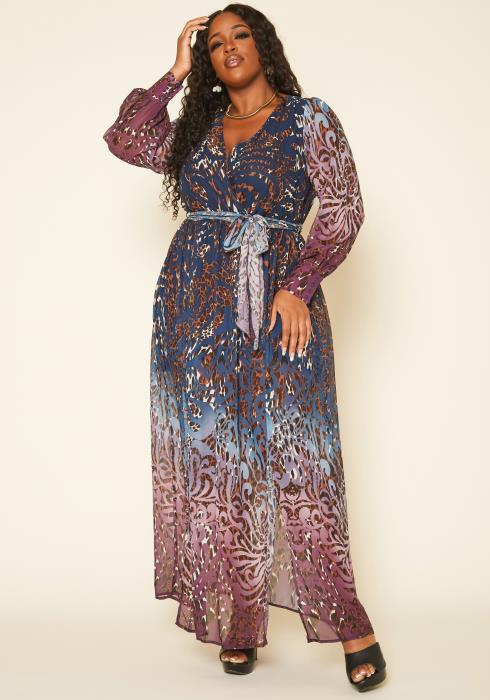 Plus Size Gradient Animal Print Fit & Flare Maxi Dress