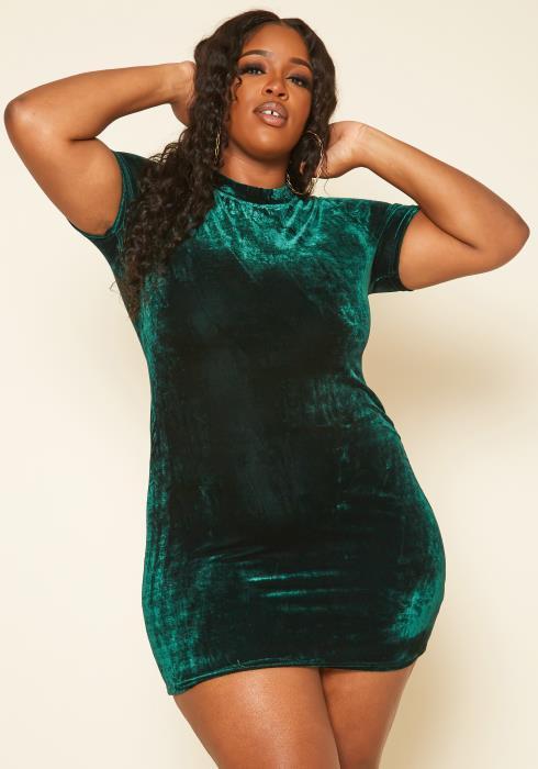 Plus Size Green Velvet Mini Dress