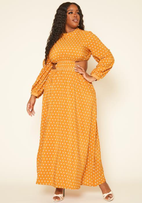 Plus Size Polka Dot Flare Maxi Dress