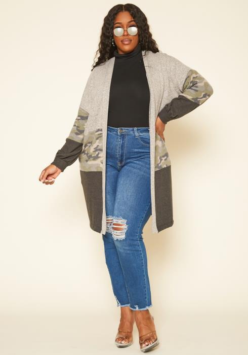 Plus Size Camo Print Open Front Cardigan