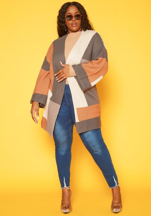 Plus Size Color Block Knit Cardigan
