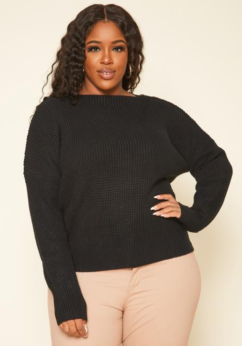 Plus Size Waffle Knit Zipper Hem Sweater