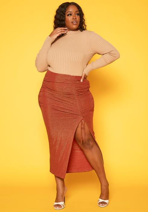 Plus Size Drawstring Hem Shimmer Maxi Skirt