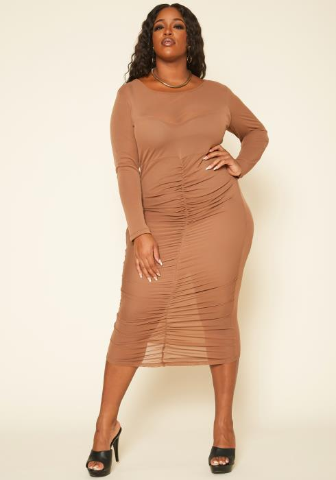 Plus Size Ruched Mesh Bodycon Midi Dress