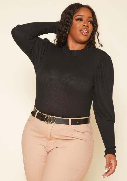 Plus Size Puff Long Sleeve Ribbed Top