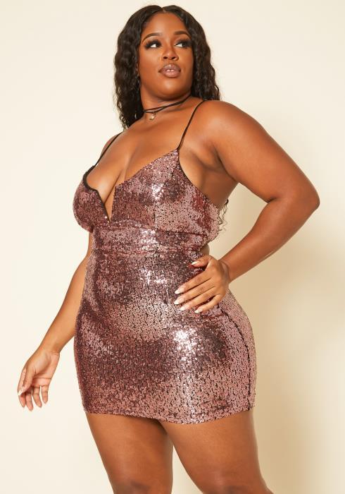 Plus Size Rose Gold Sequin Cami Mini Dress