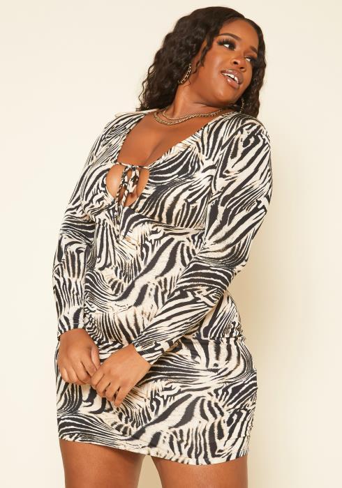 Plus Size Zebra Print Long Sleeve Mini Dress