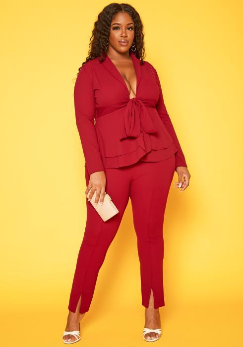 Plus Size Peplum Blouse & Pants Set