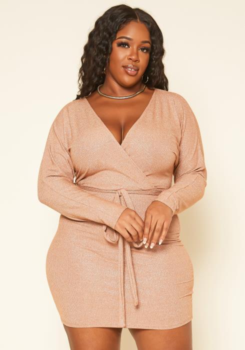 Plus Size Nude Shimmer Long Sleeve Mini Dress