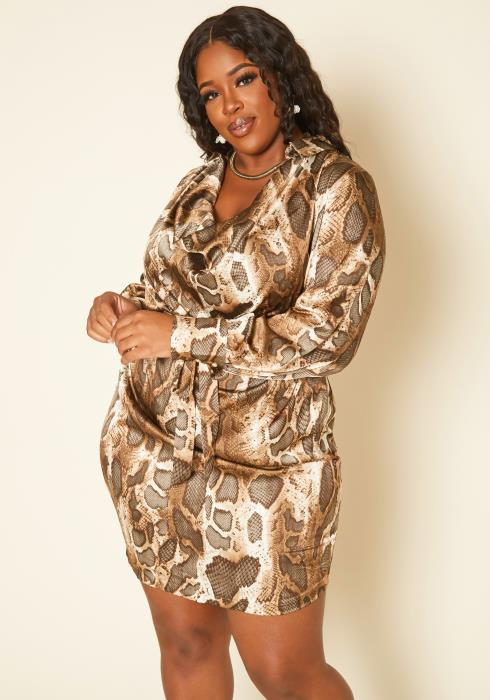 Plus Size Snakeskin Pattern Satin Mini Dress