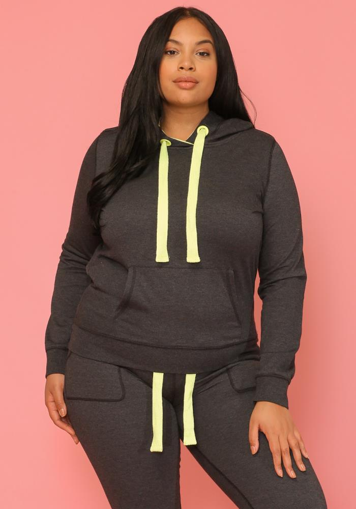 7c60e1c9a77 Asoph Plus Size Neon Strapped Hoodie