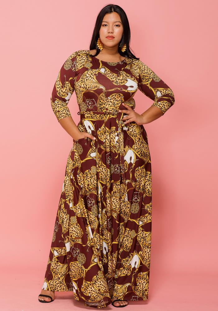 bee70ffaa8 Asoph Plus Size Gold Leopard Print 3 4 Sleeve Maxi Dress
