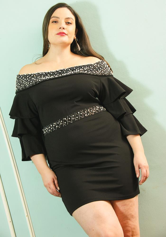 Asoph Plus Size Pearl Studded Off Shoulder Dress Asoph