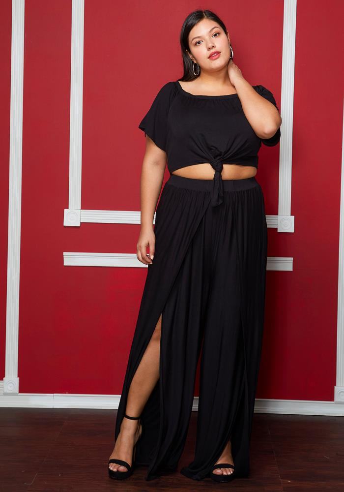 5f7be577515 Asoph Plus Size Slit Hem Pants
