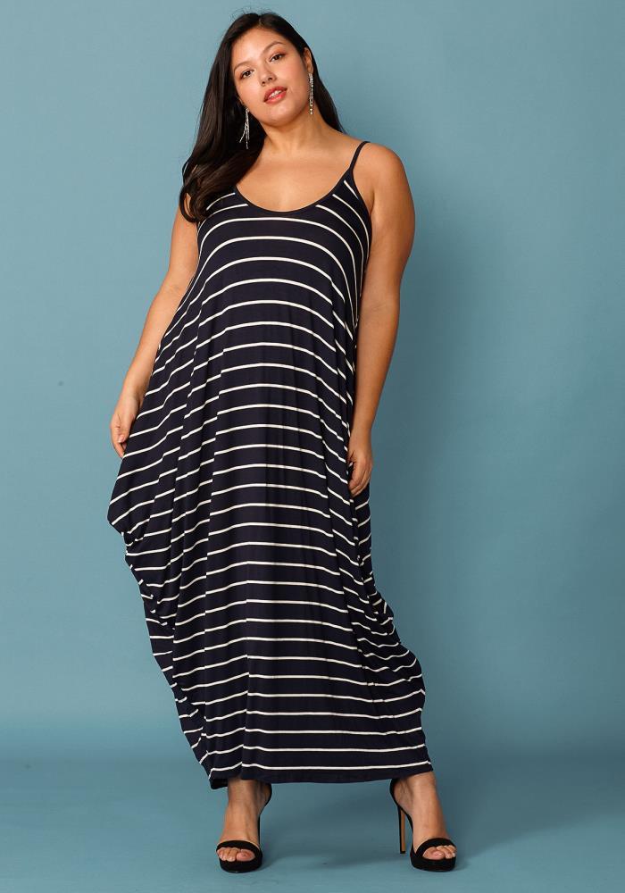 Plus Size Drappy Stripe Print Tank Maxi Dress | Asoph.com
