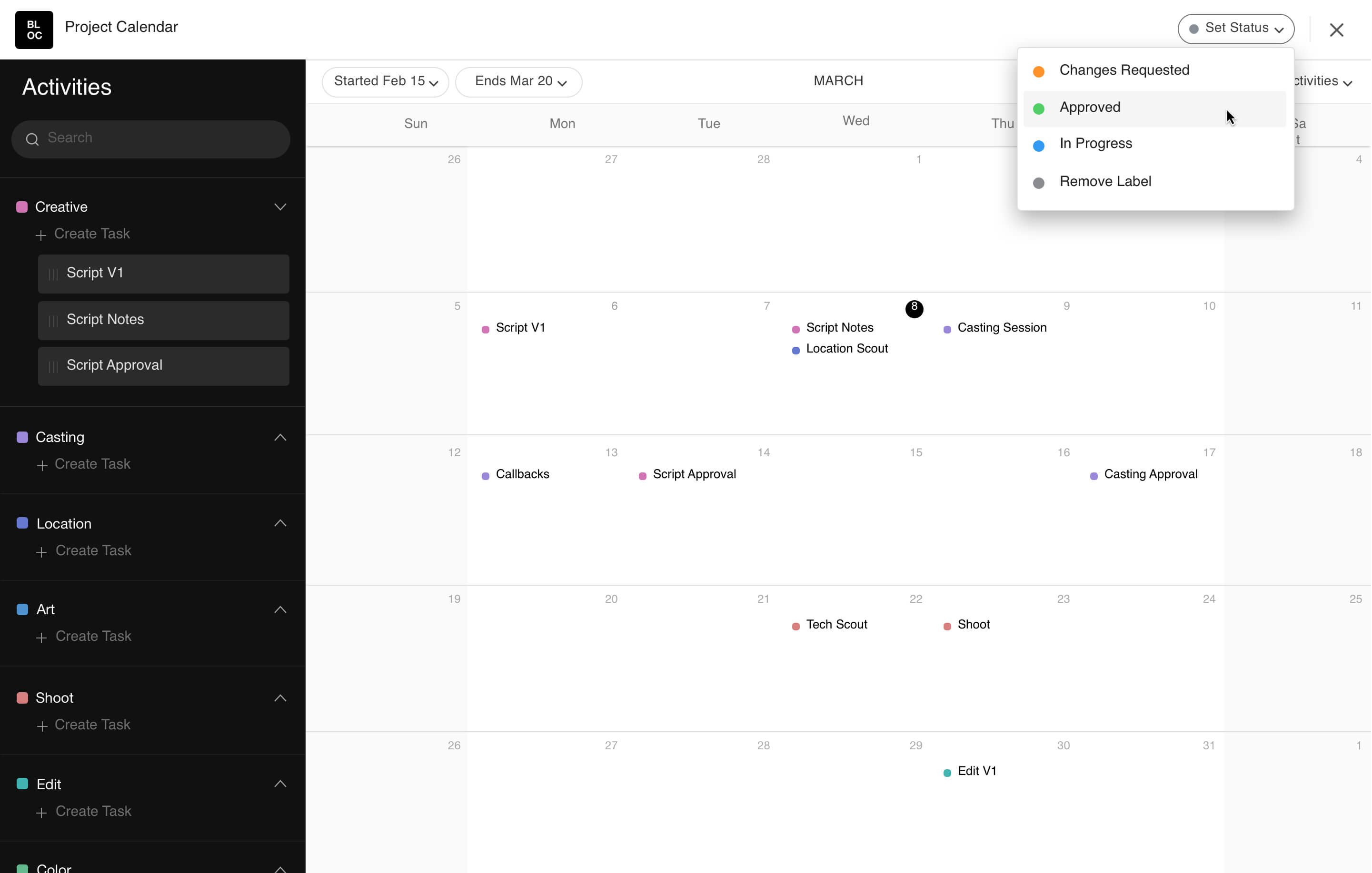 Utilize our production calendar to effectively schedule your video production, photography and animation projects.