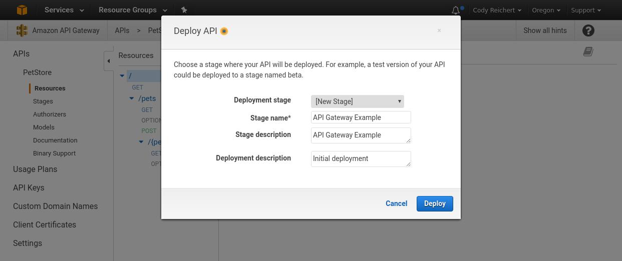 Initiate a deployment in AWS API Gateway