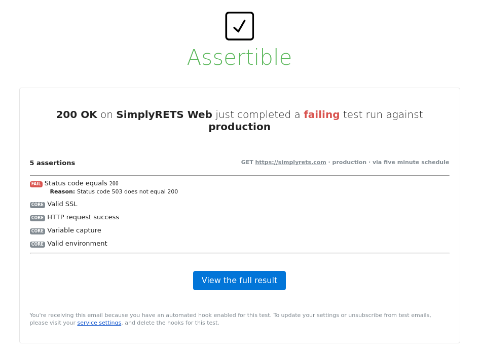 Assertible uptime failure alert