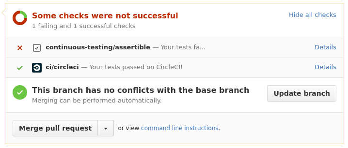 GitHub integration status checks