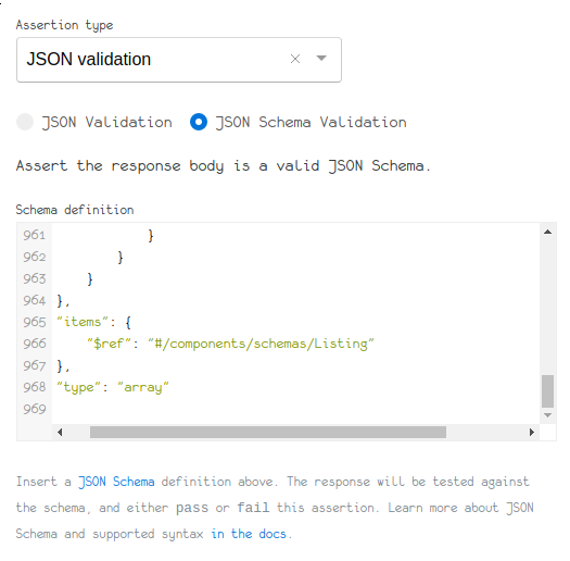 JSON schema validation