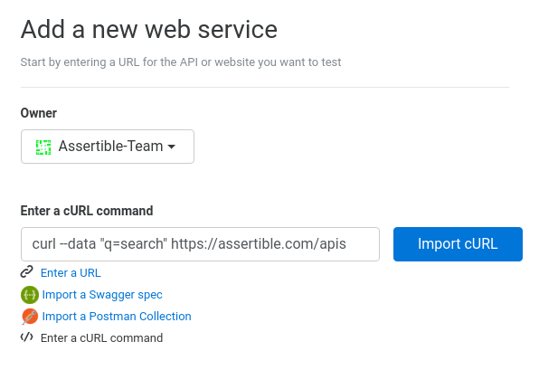 New features: curl command integration and web service test import