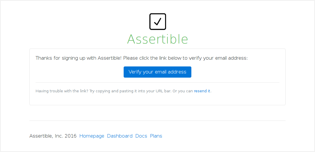 Assertible Getting Started Email