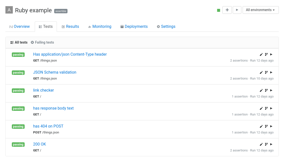 New features: Enhanced test list view and linking deployments to results