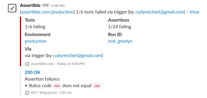 Assertible API testing Slack integration