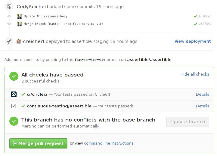 GitHub status checks for continuous testing