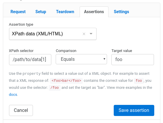 New feature: XPath assertion for XML and HTML