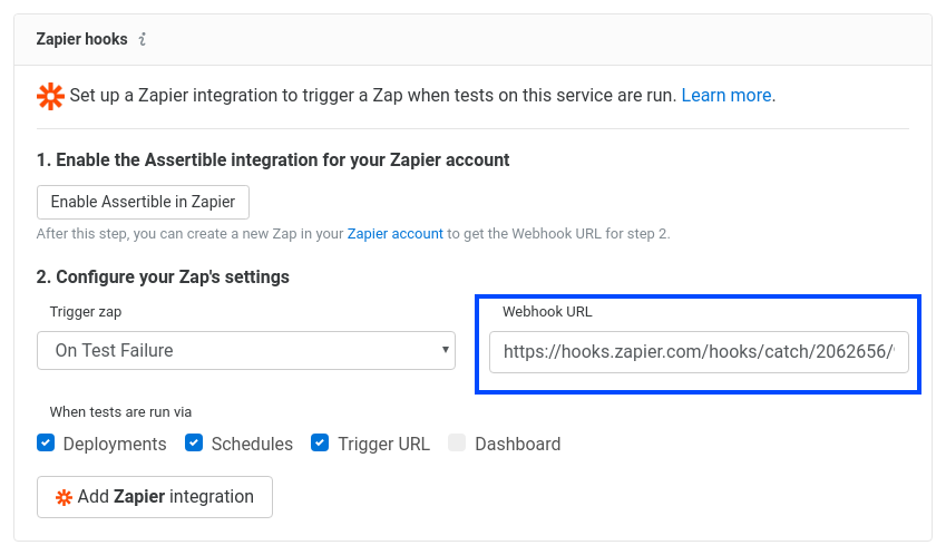 Enter Zapier webhook URL in Assertible