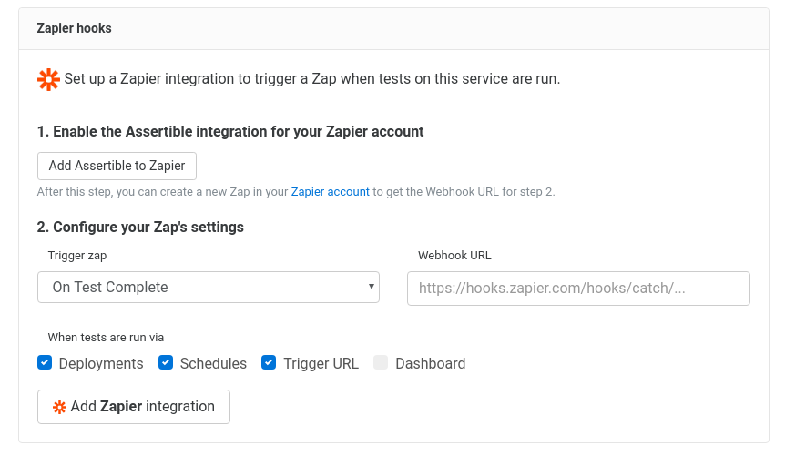 Assertible new Zapier hook form